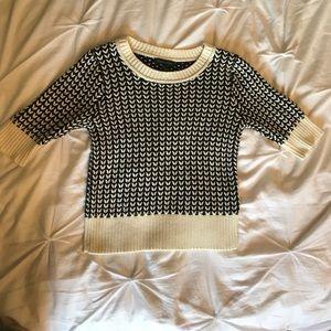 Petite M Black and Cream 3/4 Sleeve Sweater
